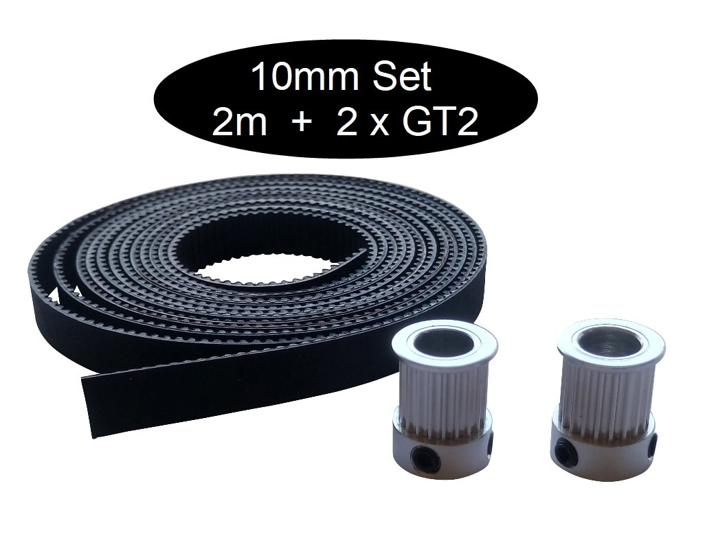 GT2 10 mm Set (2 m GT2 10 mm with 2x Pulley 16Z/20Z Div diameter), 2m GT2 + 2 x Pullley 16z Ø 5mm, 1 2m GT2 + 2 x Pullley 16z Ø5mm Unbekannt