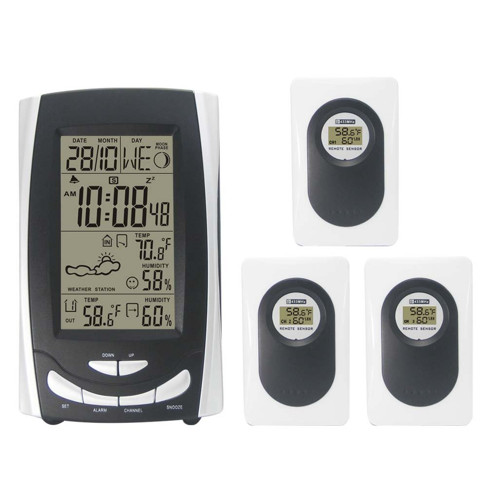 Dykie Wireless Weather Station With Digital Alarm Clock Shadow Sensor Thermometer Hygrometer Transmitter Rs8709e Garden Outdoor