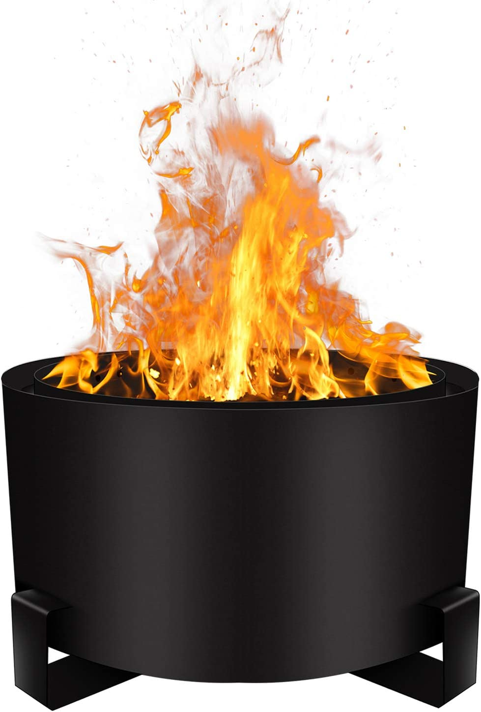 Urban Deco Patio Fire Pit Bonfire Pit Large 23.6 Inch Wood Pellet Fire Pit Outdoor Smokeless Firepit Wood Burning Low Smoke Portable Firepit with Stand and Waterproof Cover(23.6