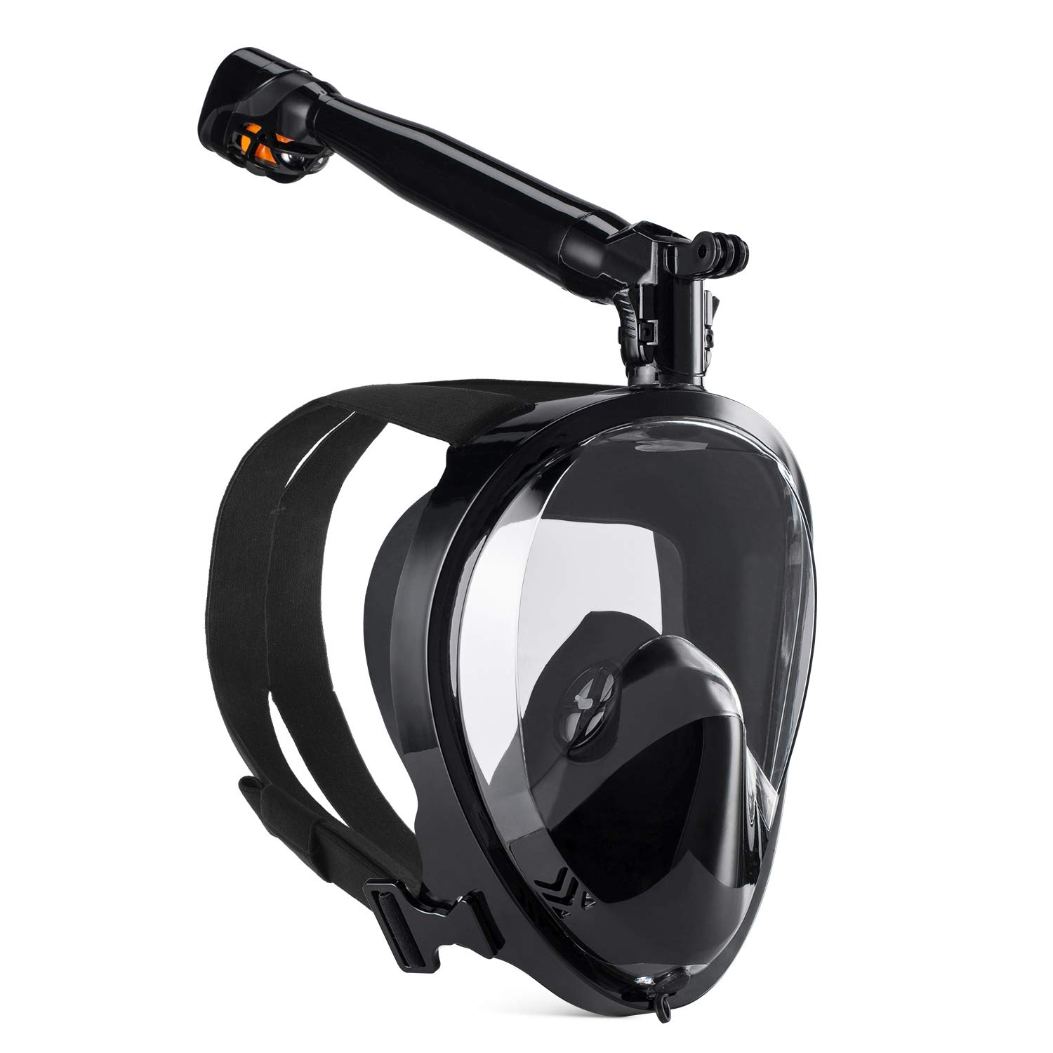 GroHoze Full Face GoPro Compatible Snorkel Mask with 180° Panoramic Viewing and Advanced Breathing System for Snorkeling and Diving - Black, L/XL by GroHoze