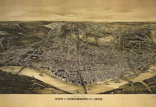 BIRD'S EYE VIEW OF CINCINNATI OHIO 1900 RIVER BOATS USA LARGE VINTAGE POSTER REPRO