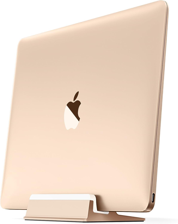 "UPPERCASE KRADL Aluminum Vertical Stand for MacBook 12"", Gold/White"