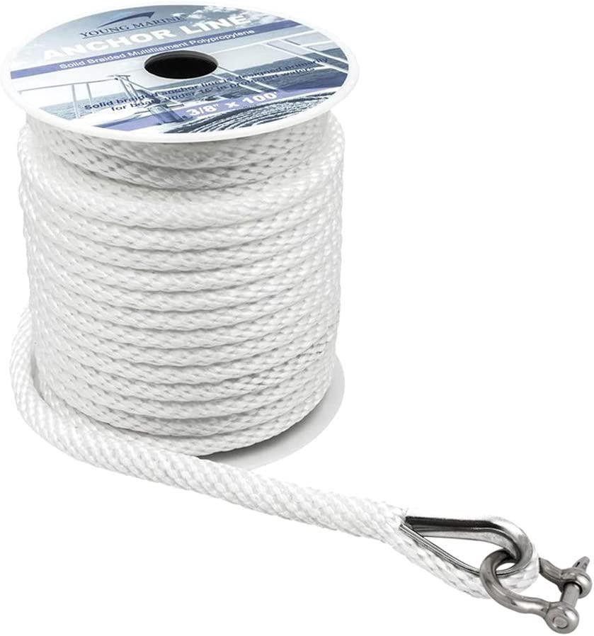 "YOUNG MARINE Premium Solid Braid MFP Anchor Line Braided Anchor Rope/Line 3/8 Inch 100FT with Stainless Steel Thimble (3/8"" x 100', White)"