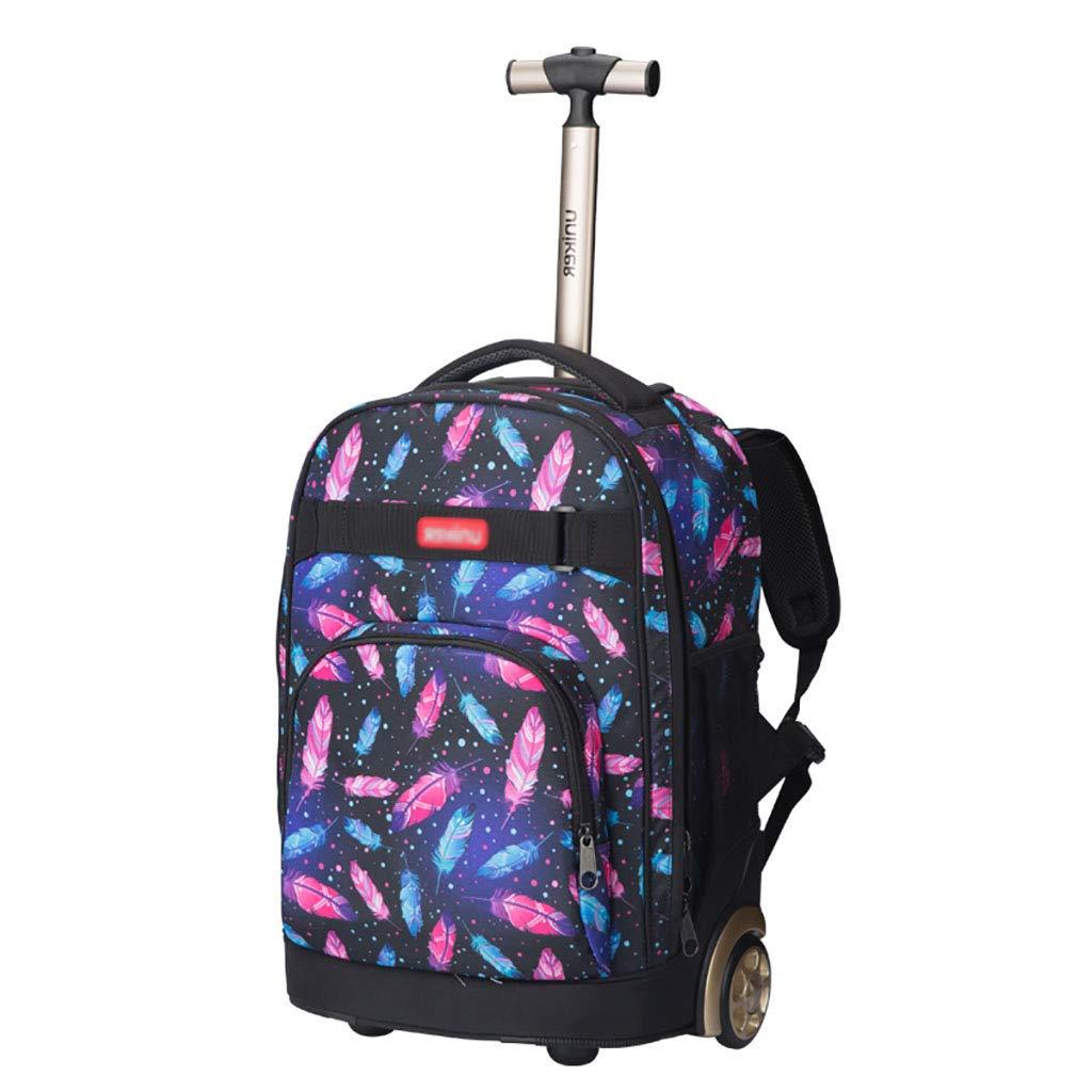 トロリーバックパックホイルラップトップカレッジバックパック、ローリングスクールバッグ、ビジネスバックパック、旅行のバックパックをウィールドローリングバックパック   B07NMS5PDN