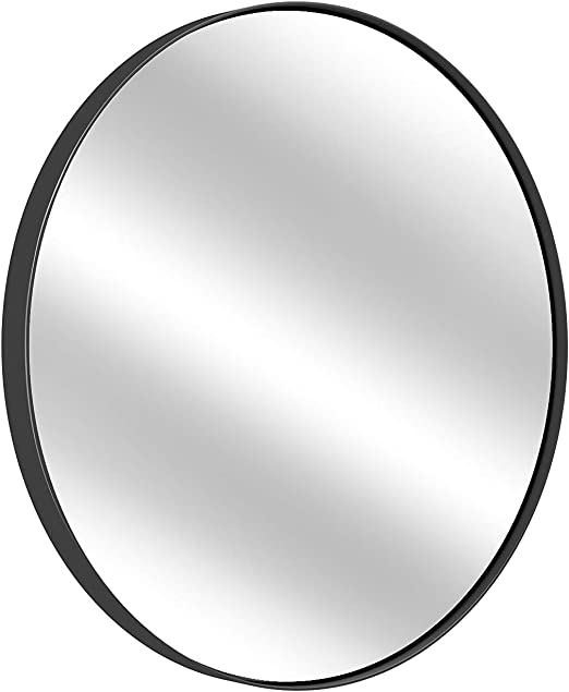 Amazon Com Black Round Wall Mirror 16 Inch Large Round Mirror Rustic Accent Mirror For Bathroom Entry Dining Room Living Room Metal Black Round Mirror For Wall Vanity Mirror Large Circle