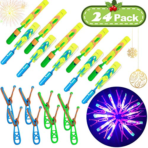 JX Rocket Helicopters 24 Piece with LED Lights for Kids ,12 Slingshot Helicopters 12 LED Helicopters,Amazing Arrow Helicopter Glow in The Dark Party Supplies for Kids