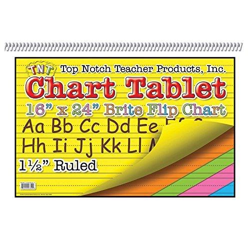 Top Notch Teacher TOP3840BN Chart Tablet 16X24, 1.5 Inch Ruled, MultiPk 3 Each
