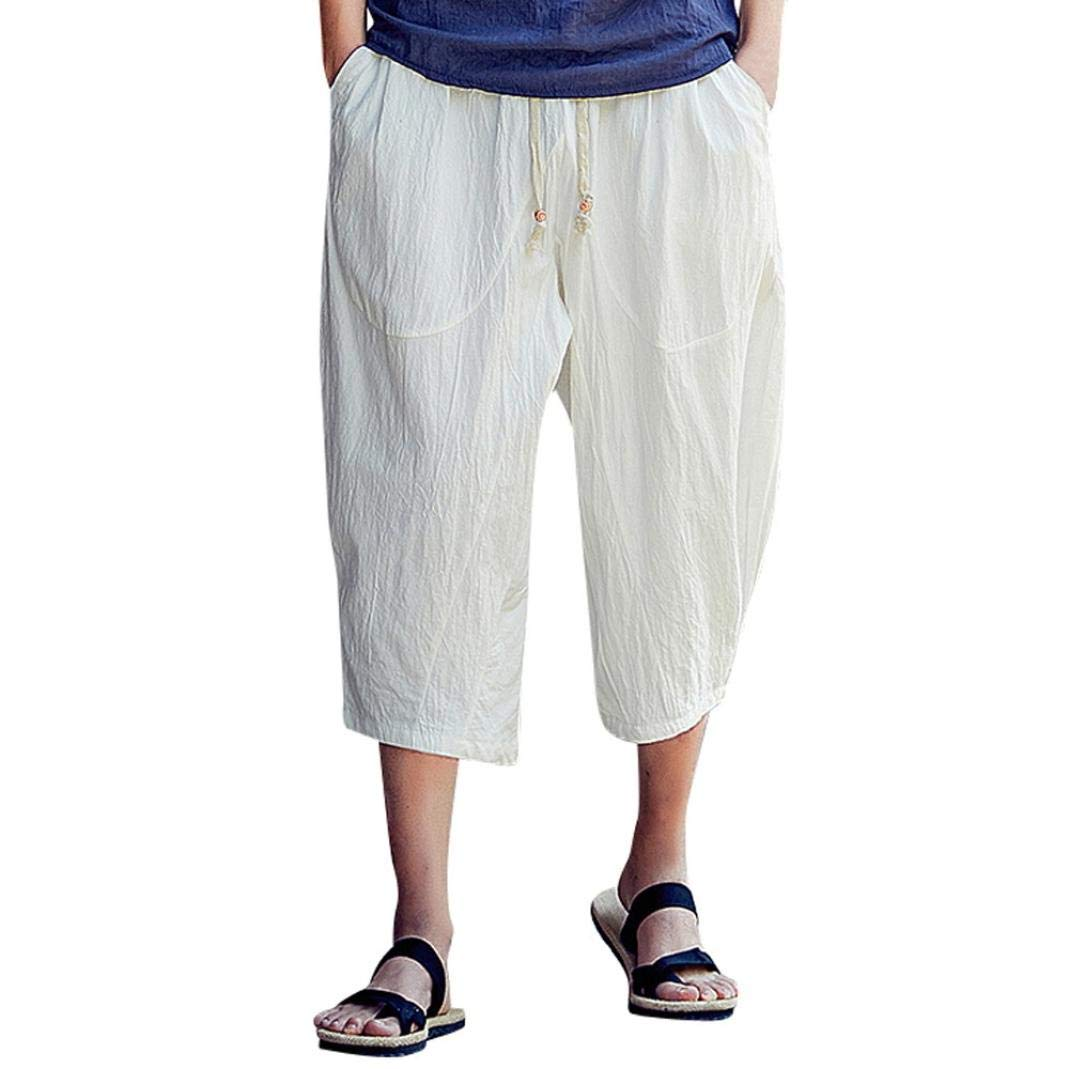 WUAI Mens Harem Pants, Casual Fashion Loose Soft Slim Fit Outdoors Sports Baggy Cropped Trousers(White,US Size M = Tag L)