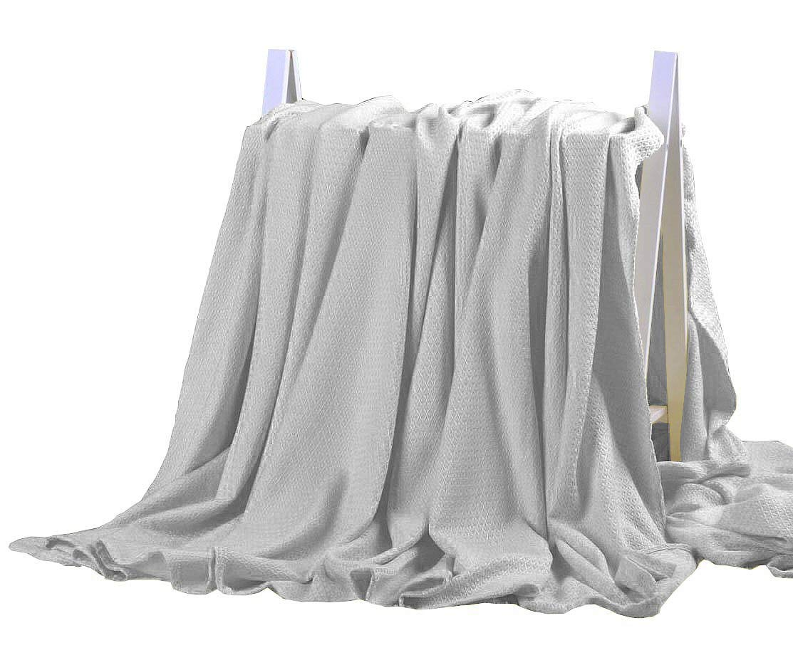 DANGTOP Air Conditioning Cool Blanket with Bamboo Microfiber- All Seasons Thin Quilt for Adults and Teens. (79x91 inches,Light Grey)