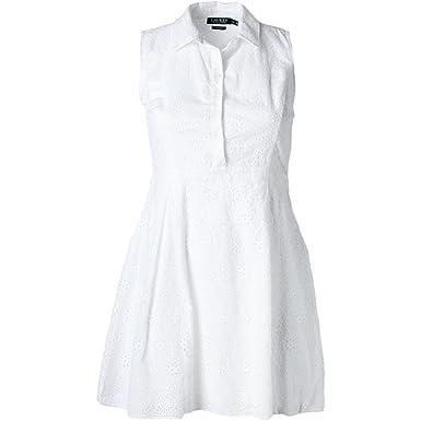 0f59536cbabc Image Unavailable. Image not available for. Color  LAUREN RALPH LAUREN  Women s Cotton Eyelet Fit   Flare Pleated Shirt Dress ...
