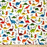 Robert Kaufman Kaufman Dinoroar Poppy Dinosaurs Fabric by the Yard, Bermuda