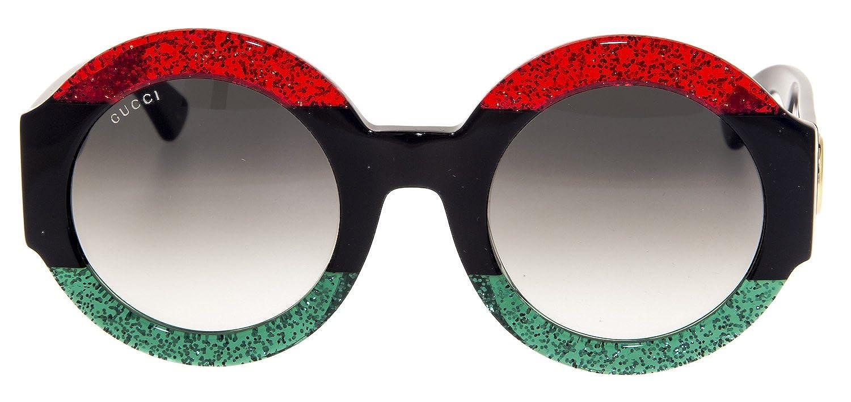 5d813c3890ef Amazon.com  Gucci GG0084S Sunglasses Red Black Green w Gray Gradient Lens  001 GG 0084S  Clothing