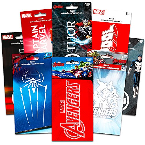 Marvel Superhero Decals Ultimate Set -- 8 Premium Decal Stickers for Laptop, Car, Macbook (Avengers, Deadpool, Daredevil, Thor, Spiderman, Captain Marvel, Punisher) Marvel Spider Man Sticker