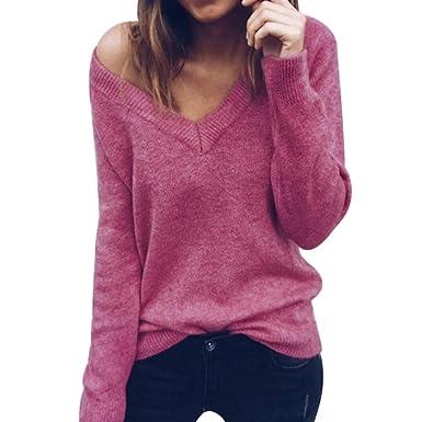 Decha Damen Herbst Winter Pullover V-Ausschnitt Lose Langarm Pulli Sexy  Sweater Gestreift Oberteil Strickpullover bf72398ce4