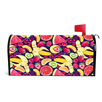 Yilooom Pattern Bright Delicious Banana Strawberry Orange Kiwi Watermelon Grapes Cherry Raspberry BlackBerry Mailbox Cover Magnetic Mail Box Wrap Yard Garden Decor 17.25 X 20.75 Inches: Garden & Outdoor