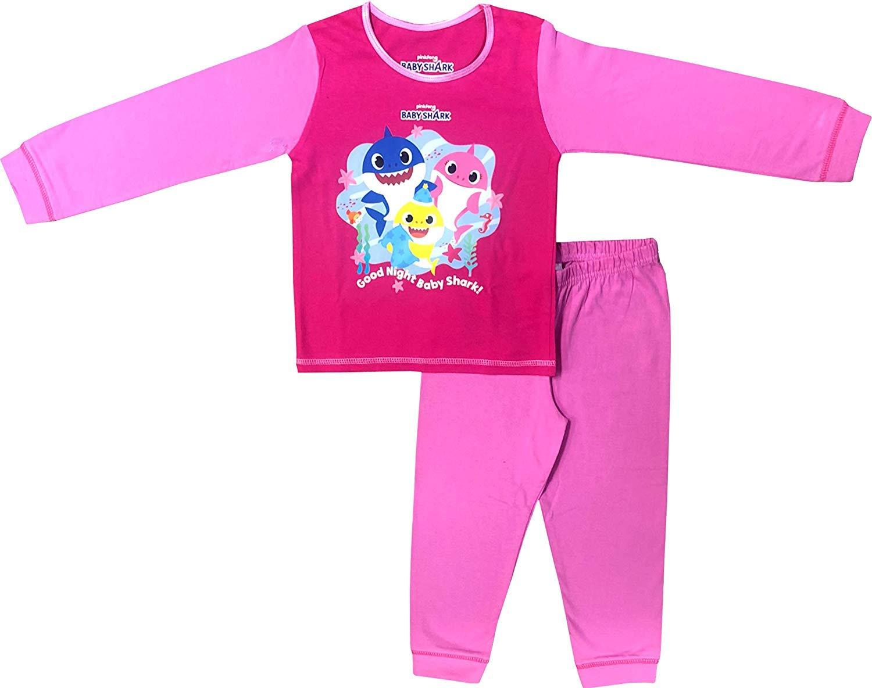 Baby Shark Pyjamas Childrens Kids Boys Girls Pink Blue PJs Age 18 Months-5 Years
