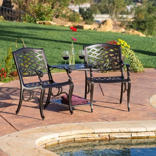 Great Deal Furniture 239086 Prague Outdoor Cast Aluminum 2-Seater Set, Grey (Iron Discount Wrought Cushions Furniture Patio)
