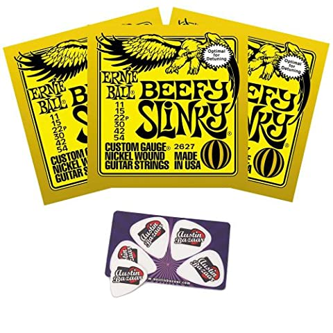 Ernie Ball 2627 Beefy Slinky String Set (11 - 54) Droptuning Electric Guitar Strings - 3 Pack with - Ernie Ball Beefy Slinky String