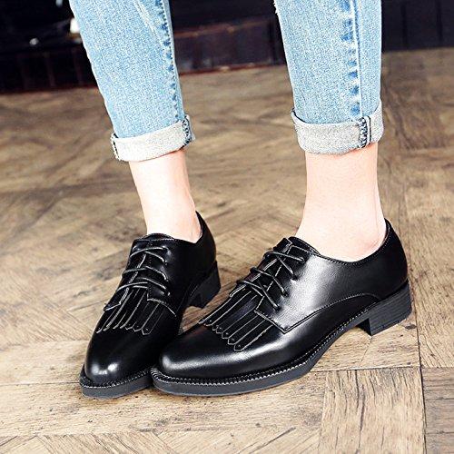 Colores Con Cordones Múltiples Mujer Tendencias Para Zapatos Con Black MUYII Zapatos z0Eq6P6