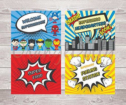 Superhero Decorations | Superhero Birthday | Superhero | Superhero party signs | Superhero word cutouts | Superhero Word Bubbles | Superhero Words | Superhero party supplies (Superhero party sign) -