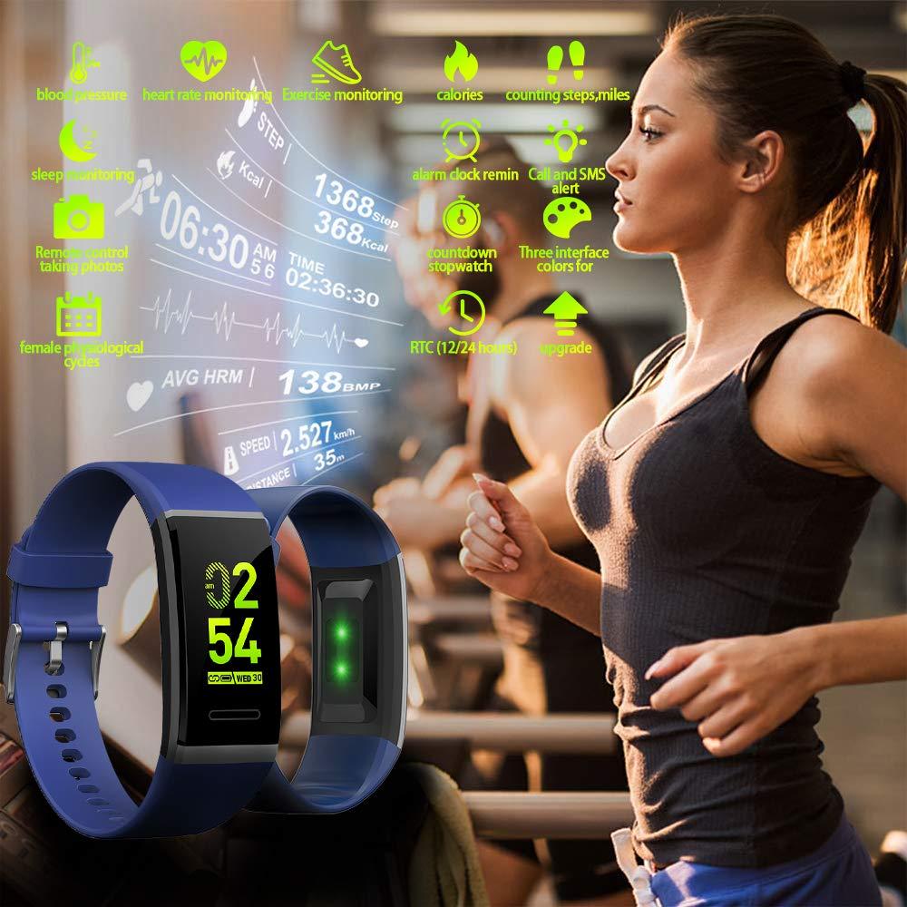 ... Niño Pulsera Actividad Hombre Reloj Contador de Pasos y Calorias Mujer Pulsómetro Tensiómetro para iOS y Android: Amazon.es: Deportes y aire libre