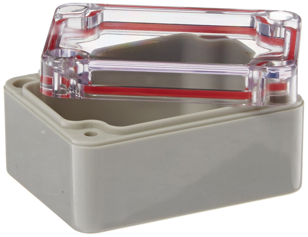 Serpac RB22-1TC1BG Polycarbonate Plastic Enclosure, 2.55'' Length x 1.97'' Width x 1-3/8'' Height, Top Clear/Bottom Gray