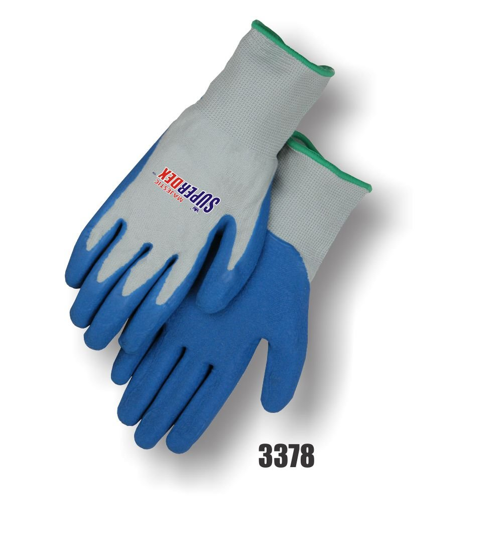 Majestic Glove 3378/9 Industrial Gloves, Rubber Palm, Knit, Medium, Blue/Gray (Pack of 12) by Majestic Glove B015XRR3G8