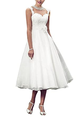 Faironline Women s Tea Length Lace Wedding Dress For Bride Tulle Bridal  Gowns Size2 Ivory ddc1b8436b