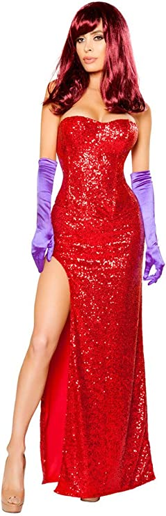 Amazon Com Women S Sexy Jessica Rabbit Halloween Costume Clothing