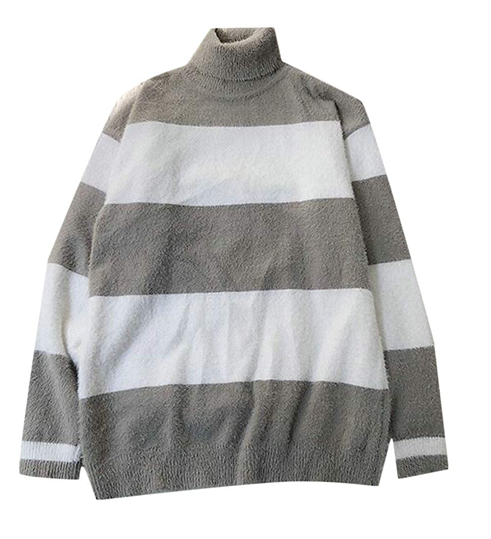 Sweatwater Mens Loose Fit Striped Plush Turtle Neck Knits Pullover Sweaters