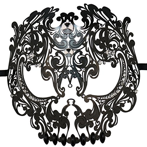 (Skull Face Masquerade Masks Mardi Gras Party Mask with Rhinestones)