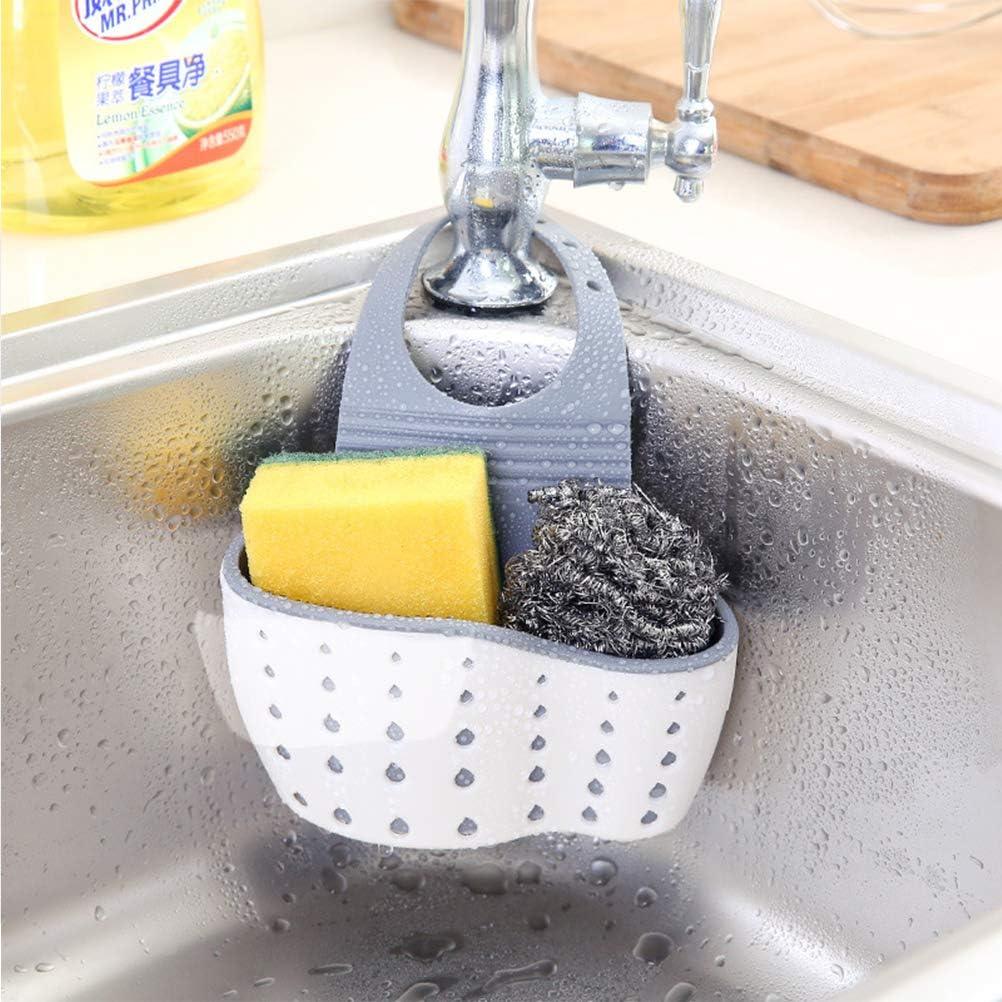 soporte de ba/ño cocina ajustable organizador de cocina Beige beige Soporte de almacenamiento para fregadero estante de drenaje esponja de jab/ón