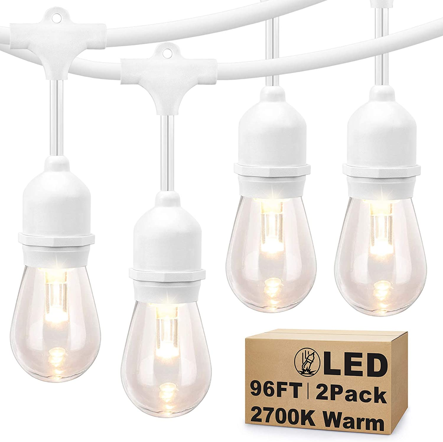 2 Pack 48FT LED Dimmable Outdoor String Lights, Patio String Lights Waterproof, Commercial Grade&Shatterproof, 2700K, White Cords, 15 Hanging Sockets, 3 Spare Bulbs, for Backyard, Gazebo (Total 96FT)