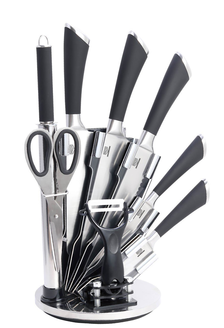9 PC Stainless Steel Kitchen Knife Block Set - Bonus Peeler, Scissors, Sharpener - Top Chef Knives for Professional Chopping Cutlery - Make Cooking and Food Prep Easy & Fun - Great Cook Utensil Gift
