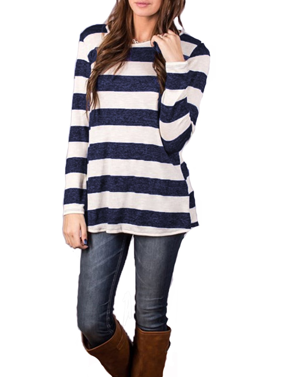 Hount Women's Casual T-Shirt Long Sleeve Tunic Tops Round Neck Loose Comfy with Button (Navy Blue, L)