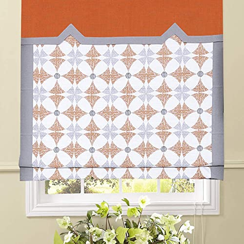 Artdix Roman Shades Blinds Window Shades – Orange-Grey 58.5 W x 96L Inches 1 Piece Blackout Solid Fabric Custom Made Roman Shades for Windows, Doors, Home, Kitchen, Living Room Including Valance