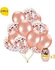 Rose Gold Confetti Balloons,24 Pack 12-Inch Balloons with Confetti Rose Gold Party Balloons and Rose Gold Ribbon Great for Birthday Party, Engagement, Wedding, Bridal Shower, Baby Shower Decoration