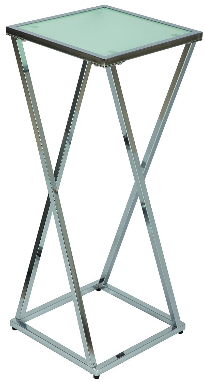 H 750 x L 300 x l 300 mm PEGANE Grande sellette en Acier chrom/é et Verre sabl/é tremp/é Dim