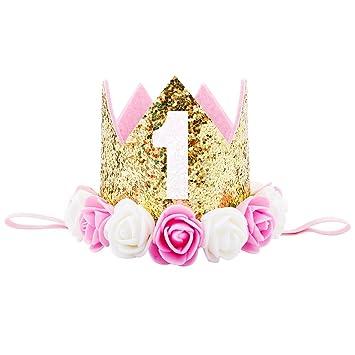 Amazon.com: Oro elástico flor princesa Tiara corona ...