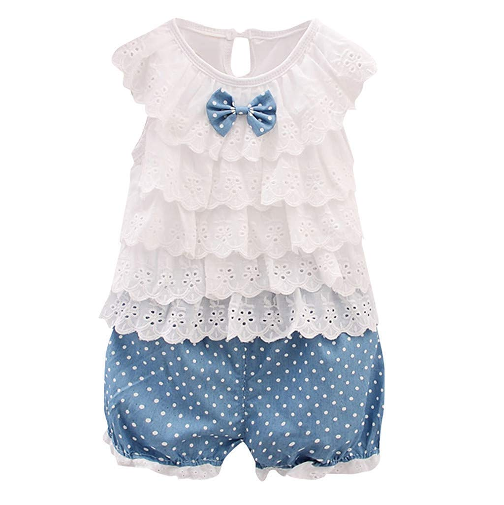Fashion Infant Baby Girl Summer Clothes Cute Solid Sleeveless Flower Edge Bow Tops+Dot Shorts Pants Outfit Set White 6-12 M