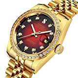 Mens Diamond Accented Bezel and Luminous Dial 18K Gold Plated Watch Waterproof Automatic Mechanical Watch