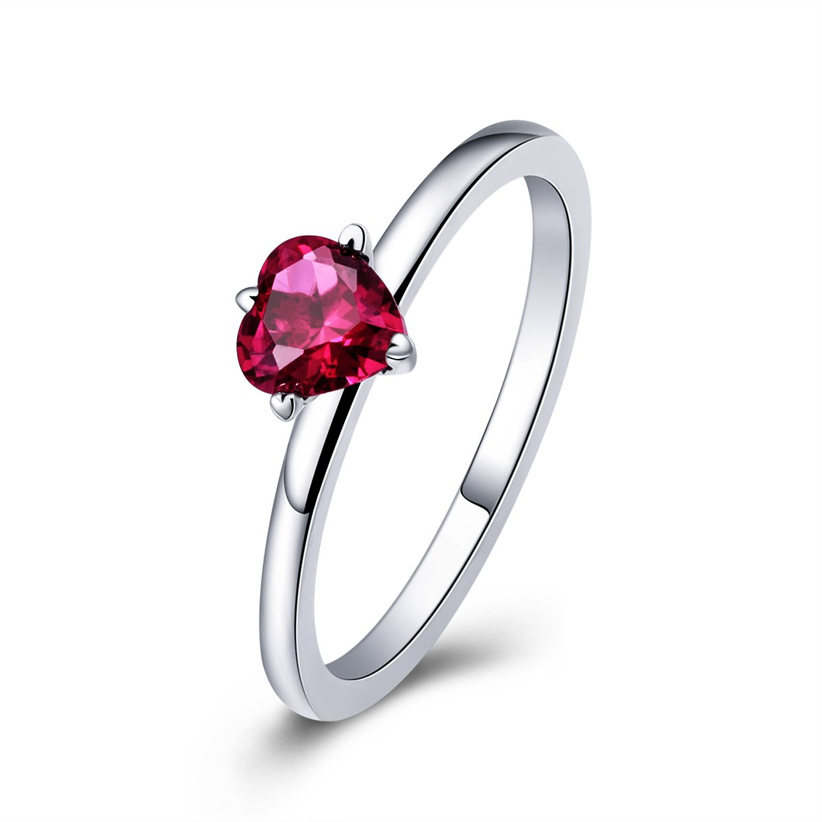BISAER 925 Sterling Silver Created Ruby Ring, Heart Shape AAA CZ Solitaire Ring for Wedding Engagement Gift (Size 8)