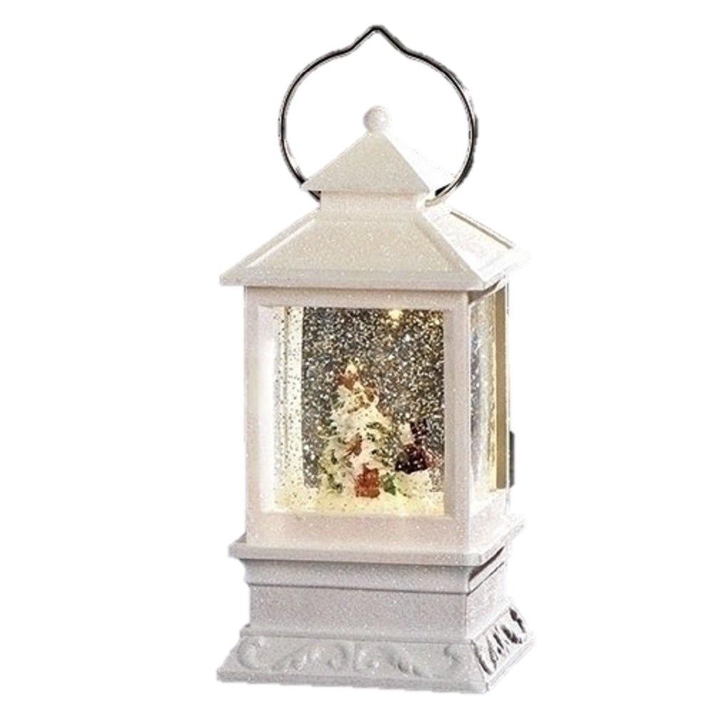 Roman Inc. 8.5''H LED White Lantern with Snowman Winter Scene Glitter Dome Snow Globe