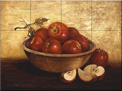 Murale di piastrelle di ceramica ciotola di legno con mele di