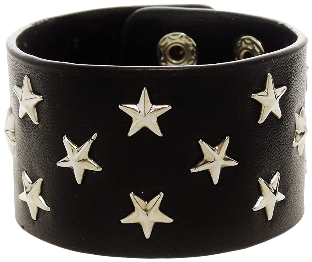Black Leather Silver Tone Star Studded Bracelet Rickis Dark Stary Night Bracelet