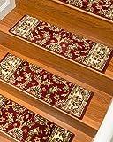 NaturalAreaRugs Sydney Carpet Stair Treads  Rug (Set of 13), 9'' x 29'', Red