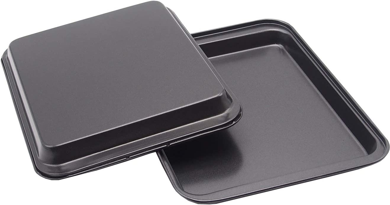 Small Baking Sheet Mini Cookie Sheet Toaster Oven Use Outer Size 9.5x 7 Inch(Inner Size 7.5 X 6 X 0.5 Inch) Pack of 2 Nonstick Bakeware for Pizza, Chicken Wings, Bacon Suit for 1 or 2 People