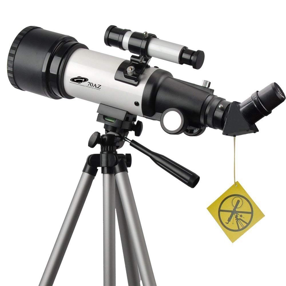with Backpack and Smartphone Mount 70mm Apeture Travel Scope 400mm AZ Mount Good Partner to View Moon and Planet White 70x400mm Telescope for Kids and Beginners