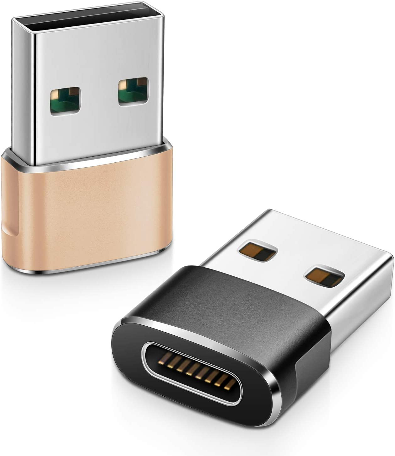 Elebase USB C Female to USB Male Adapter (2 Pack) (Upgraded Version),Type C to USB A Connector,Works with Laptops,Chargers,and More Devices with Standard USB A Interface (Black&Gold)