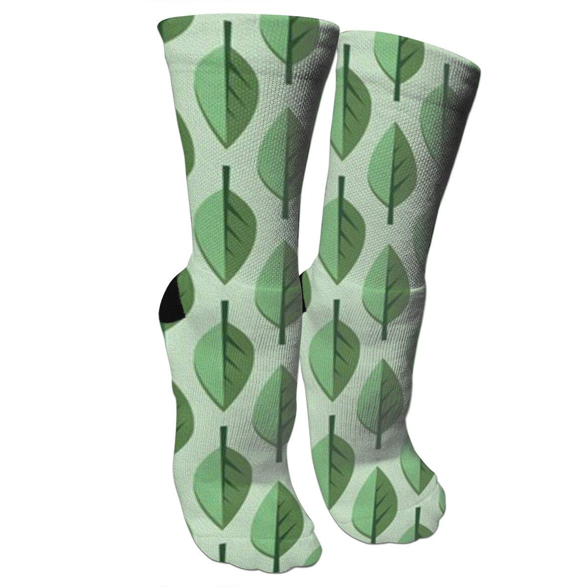 Green LeavesCrazy Socks Casual Cotton Crew Socks Cute Funny Sock Great For Sports And Hiking
